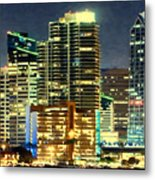 Building At Night With Lights Metal Print