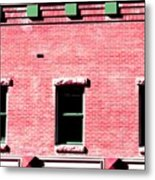 Building In Red And Green Metal Print