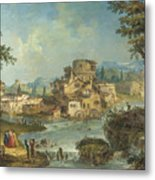 Buildings And Figures Near A River With Rapids Metal Print