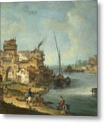 Buildings And Figures Near A River With Shipping Metal Print