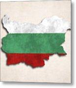 Bulgaria Map Art With Flag Design Metal Print