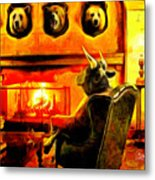 Bull At Night Metal Print