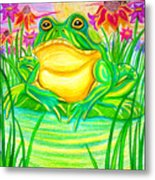 Bull Frog And The Moon Metal Print