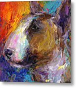 Bull Terrier Dog Painting Metal Print by Svetlana Novikova