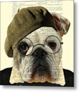 Bulldog Portrait, Animals In Clothes Metal Print