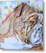 Bulldog - Watercolor Portrait.7 Metal Print