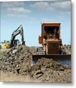 Bulldozer And Excavator On Road Construction Metal Print