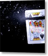 Bullet Hitting A Playing Card Metal Print