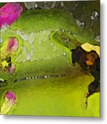 Bumble Bee And Penstemon Over Pond Metal Print