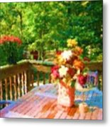 Bumble Deck Flowers Metal Print