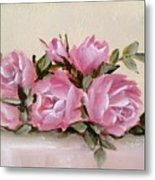 Bunch Of Pink Roses Painting Metal Print