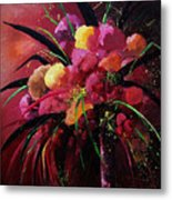 Bunch Of Red Flowers Metal Print
