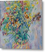 Bunch Of Wild Flowers In A Vase Metal Print