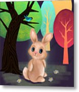 Bunny And Birdie Metal Print