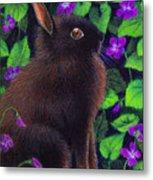 Bunny And Violets Metal Print