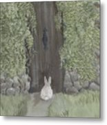 Bunny At The Gate Metal Print