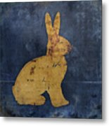 Bunny In Blue Metal Print