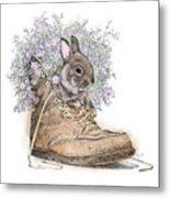 Bunny In Boot Metal Print