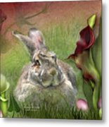 Bunny In The Lilies Metal Print