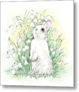 Bunny In White Metal Print