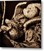 Bunny With Her Bunny - Sepia Metal Print