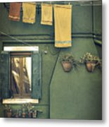 Burano - Green House Metal Print