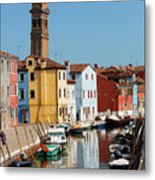 Burano An Island Of Multi Colored Homes On Canals North Of Venice Italy Metal Print
