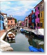 Burano Canal And Homes Metal Print