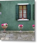 Burano Green Metal Print