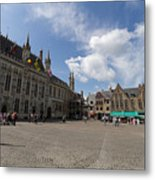 Burg Square In Bruges Belgium Metal Print