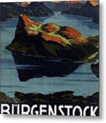 Burgenstock - Lake Lucerne - Switzerland - Retro Poster - Vintage Travel Advertising Poster Metal Print