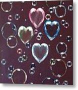 Burgundy Bubbles Metal Print
