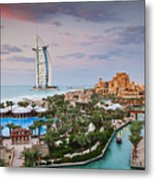 Burj Al Arab Hotel And Madinat Jumeirah Resort Metal Print by Jeremy Woodhouse