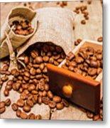 Burlap Bag Of Coffee Beans And Drawer Metal Print