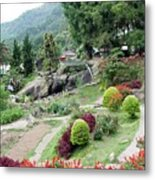Burma Village Garden And Pond Metal Print