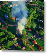 Burnin Down The House Aerial Single Family Home On Fire  Metal Print
