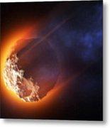 Burning Asteroid Entering The Atmoshere Metal Print
