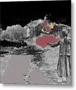 Burning House Destroyed By The Ss Soviet Union Number One 1941 Color Added 2016 Metal Print