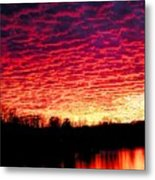 Burning Lake Metal Print