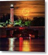 Burning Moon Rising Over Jupiter Lighthouse Metal Print