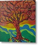 Burning Tree Metal Print