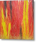 Burning Wood Metal Print