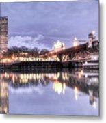 Burnside Bridge Waterfront Portland Oregon Metal Print