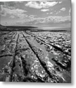Burren Limestone Landscape In Ireland Metal Print