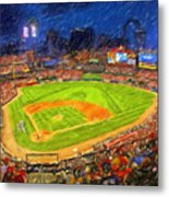Busch Stadium At Night Rocks Metal Print