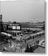 Busch Stadium From The East Garage Black And White Metal Print