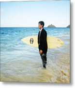 Business Man At The Beach With Surfboard Metal Print