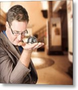 Business Man With Service Bell. Consumer Advice Metal Print