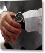 Businessman Looking At His Watch In Office Metal Print