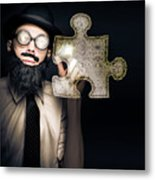 Businessman Puzzle Solving With Digital Solutions Metal Print